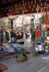 Proces of art IBB in public space in Gent, Belgium,  during the exhibition   David Bade & Instituto Buena Bista (IBB) | Zwaan kleef aan in the Stedelijk Museum Actuele Kunst.  Photos: Arthur van Mourik  2014-08-23